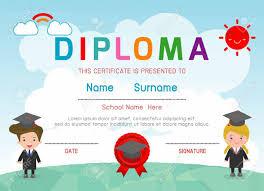 preschool diploma certificates kindergarten and elementary preschool kids diploma
