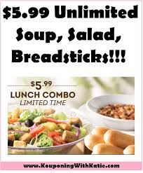 unlimited soup salad breadsticks lunch just 5 99 at olive garden