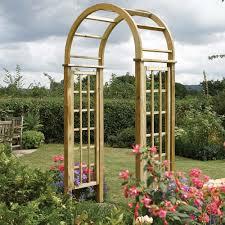 wooden round top garden rose arch westmount living