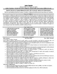 job winning resume example for credit and collections manager or