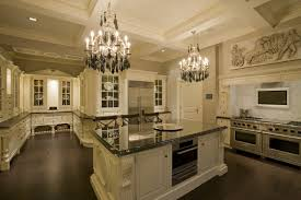 luxury kitchen design spacious with luxurious chandelier