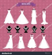 wedding dresses wedding gown accessories set stock vector