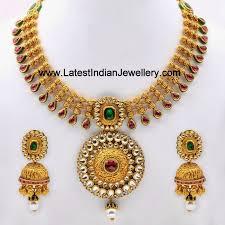 gold antique necklace set images Elegant antique gold kundan necklace set antique gold gold and jpg