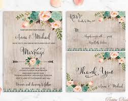 mint wedding invitations printable rustic wedding invitation etsy