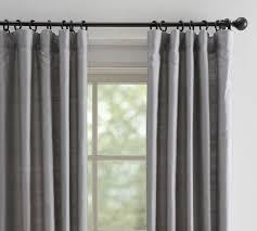 Gray And White Curtains Dupioni Silk Pole Pocket Drape Pottery Barn