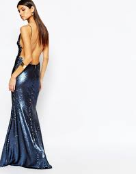 showstopper open back sequin maxi dress with fishtail by club l