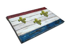 Nola Flags Weathered Wood One Of A Kind New Orleans Flag Wooden Vintage