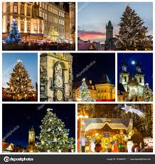 collage of landmarks of prague in winter with christmas market and