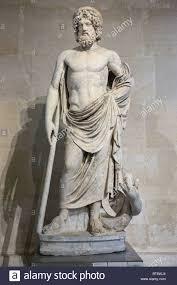 God Statue Asclepios Greek God Of Medicine Statue Louvre Museum Paris Stock