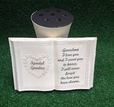 6 memorial vases with verse plaque grave or cemetery