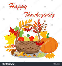 a bright picture thanksgiving basket stock vector