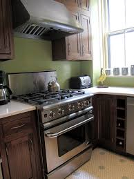 mix of dark brown cabinet stainless steel appliance and green