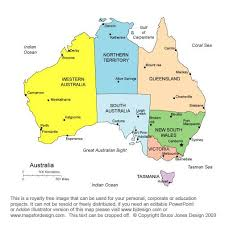 australia map capital cities map of australia with states and capital cities major