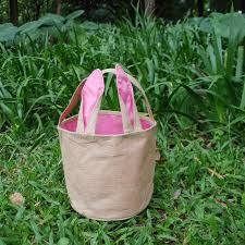 wholesale easter buckets blanks domil jute bunny ear easter tote bag burlap material easter
