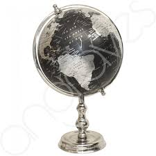 black silver traditional ornamental spinning world globe on arc