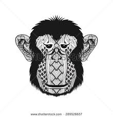 zentangle stylized monkey face hand drawn stock vector 289526657