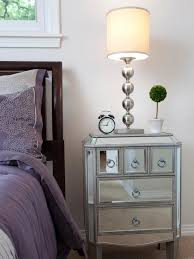 furniture tall cheap mirrored nightstand with table lamp and dark