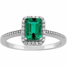 engagement ring walmart created emerald and cz sterling silver emerald cut halo ring