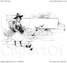 vintage witch illustration clipart of a retro vintage black and white witch and birds by a