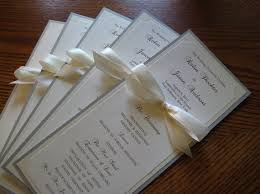 custom wedding programs wedding program in custom colors fonts sided with ribbon