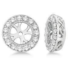 diamond earring jackets vintage cut diamond earring jackets 14k white gold 0 27ct