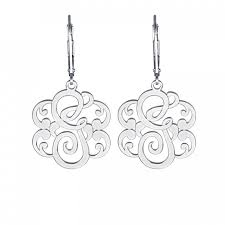 monogram earrings single initial leverback monogram earrings 25mm personalized jewelry