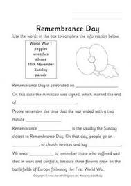 remembrance day ideas and worksheets for kids primary grades