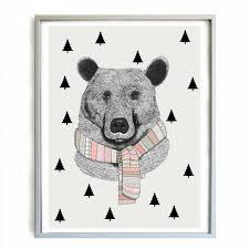 affiche chambre enfant minimel décoration chambre enfant affiche ours en écharpe