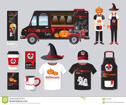 vector restaurant cafe design set street halloween food truck