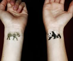 cute elephant n panda tattoo on wrist tattoos book 65 000