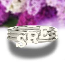 monogram initial ring sterling silver monogrammed initial ring tiny letter ring