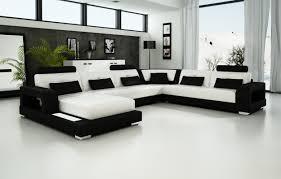 Leather Sofa Set L Shape Living Room Modern White Lounge Chair White Tile Flooring White