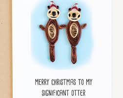 otter christmas card etsy