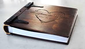 engravable photo album large personalized rustic wood photo album w leather spine