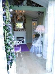 inside a romantic purple shabby chic she shed garden she sheds