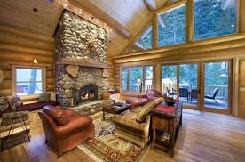 small unvarnished log cabin design inspiration brick tiles wall