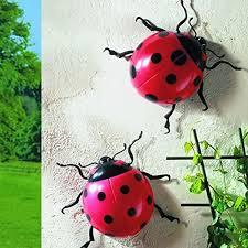 pack of 2 jumbo ladybirds garden patio wall fence display