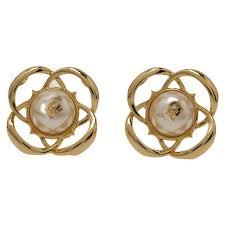 ch earrings carolina herrera ch faux pearl gold tone stud earrings buy