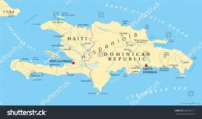 Show Me A Map Of The Dominican Republic Hispaniola Political Map Haiti Dominican Republic Stock Vector