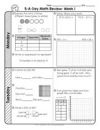 spiral review math 6th grade pdf best 25 6th grade worksheets