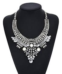 long silver statement necklace images Vintage anti silver gold tone long boho statement necklace jpg