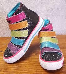 rainbow light up shoes skechers high top boot sneaker rainbow glitter girls kids light up