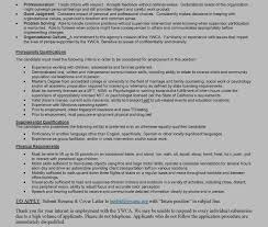 Job Description Resume Intern by Mft Intern Asw Intern Psychology Intern Ywca Sonoma County