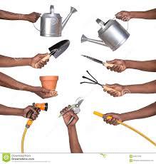man holding gardening tools stock photo image 54047209