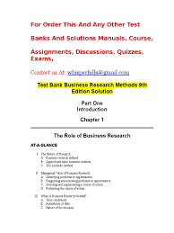 test bank business research methods 9th edition solution doc