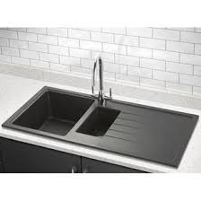 white sink black countertop composite granite kitchen sinks tap warehouse
