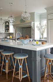 french blue kitchen cabinets white blue kitchen glass globe pendants french cafe barstools