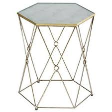Hexagon Side Table Furniture Hutchens Gold Side Table
