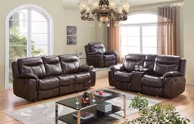 Leather Like Sofa Brown Reclining Sofa Loveseat Set In Leather Like Fabric