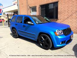 silver jeep grand cherokee 2007 jeep grand cherokee srt8 wrapped in matte blue aluminum by dbx